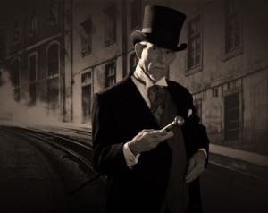 Victorian man in street