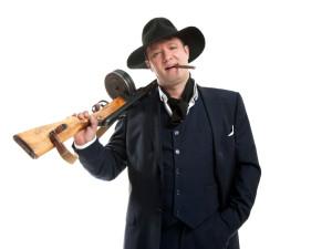 businessman with a machine gun