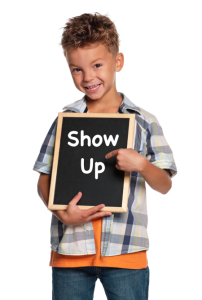 Boy with blackboard - show up
