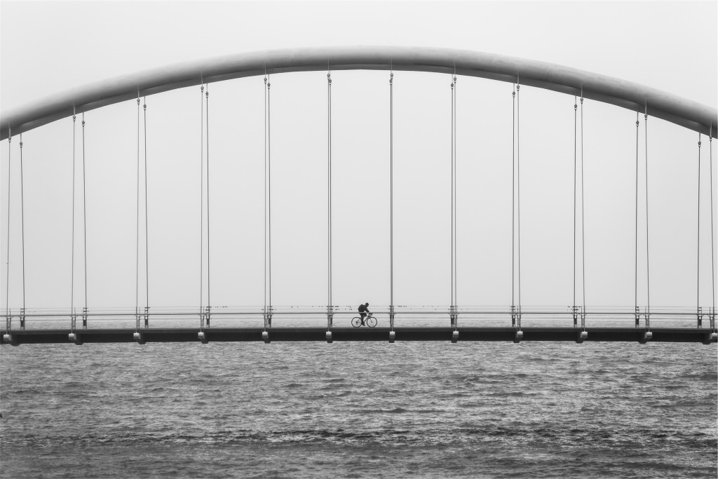 Bicyclist on Bridge